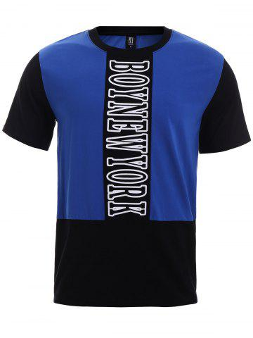 Affordable BoyNewYork Color Block Short Sleeves T-Shirt BLUE AND BLACK XL