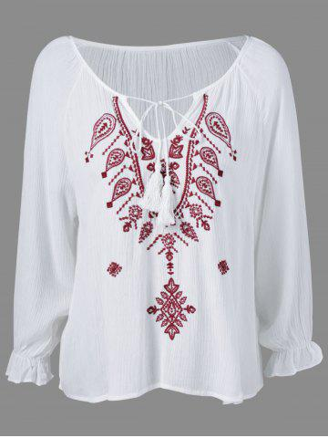 Buy Ethnic Style Embroidered Tassel Tie Blouse