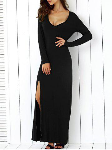 Discount Alluring U -Neck Stretched Slimming Maxi High Slit Dress