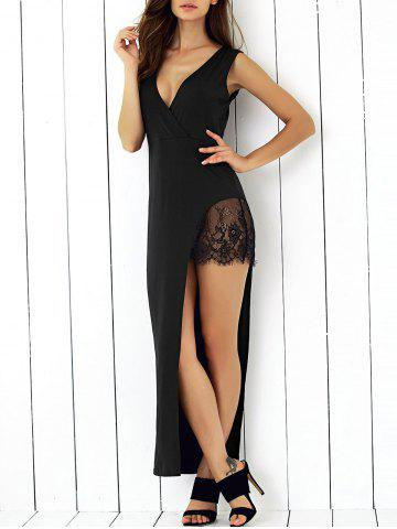 Fancy Alluring Plunge Neck Lace Spliced Black Sheath Asymmetric Dress