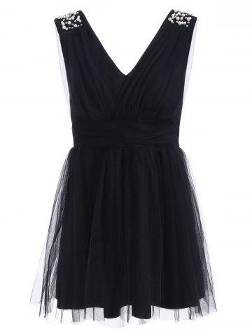 Unique Plunging Neck Mesh Beaded Ruched Dress