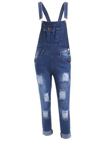 Hot Pocket Design Ripped Racerback Overall Pants