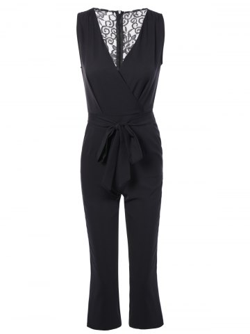 Shops Plunging Neck Bowknot Lace Jumpsuit