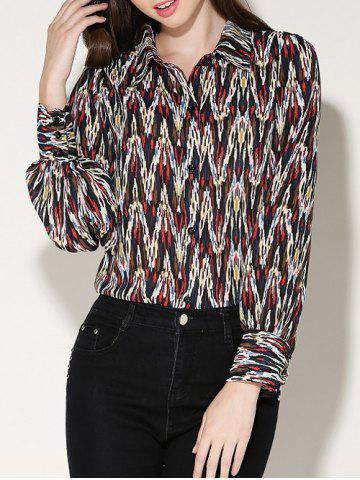 Outfit Long Sleeves Printed Chiffon Blouse