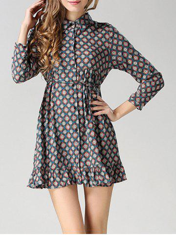 Shops Long Sleeves Flounce Tied Dress