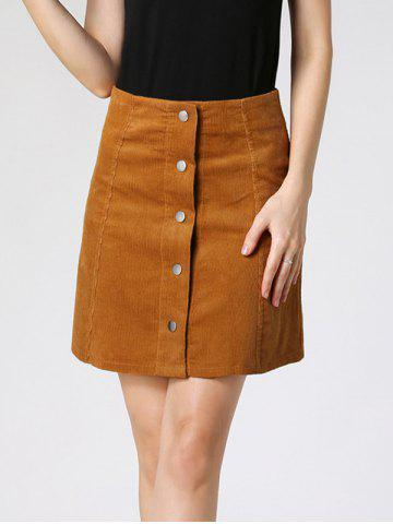 Affordable High Waist Buttoned Corduroy Skirt CAMEL M
