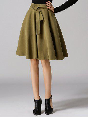 Trendy High Waist Pure Color Bowknot Skirt