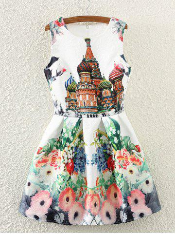 Fancy Retro Castle Floral Print Sleeveless Fit and Flare Dress
