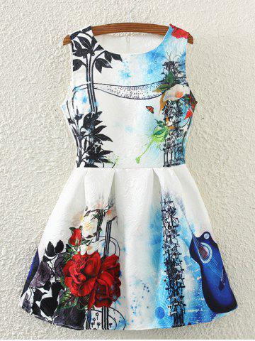 New Retro Guitar Rose Print Sleeveless Fit and Flare Dress WHITE S