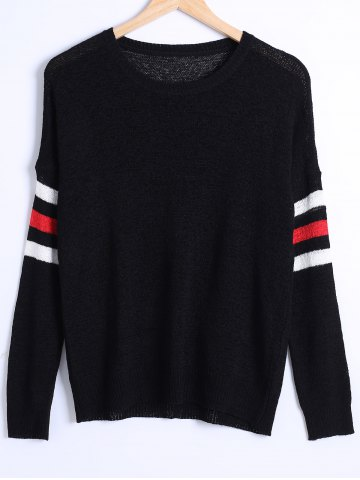 Best Loose Fitting Striped Sweater BLACK ONE SIZE