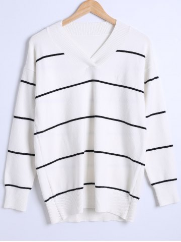Affordable Loose-Fitted Thick Striped Sweater