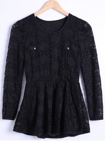 Discount Waisted Guipure Openwork Lace Blouse BLACK 3XL