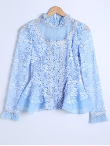 Online Guipure See-Through Lace Spliced Blouse AZURE 2XL