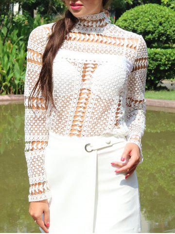 Lace Crochet Embroidery Blouse - WHITE XL