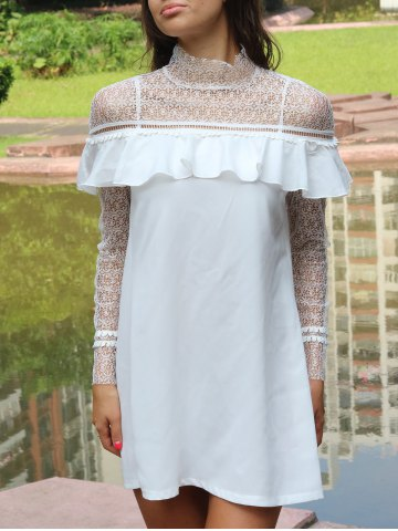 Cheap Lace Yoke and Sleeves Shift Dress WHITE XL