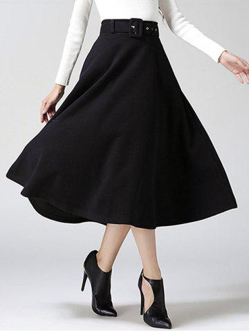 Hot High Waist Pure Color Tweed Midi Skirt BLACK XL
