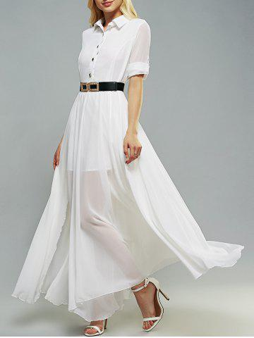 Fashion Belted Swing Shirt Collar 3/4 Sleeve Maxi Shirt Dress WHITE XL