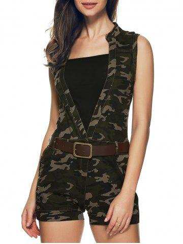 Hot Plunging Neck Camouflage Belted Romper