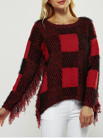 Fashion Checked Fuzzy Round Neck Long Sleeve Sweater