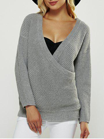 Shops Fitting Wrap Plunging Neck Long Sleeve Sweater GRAY ONE SIZE