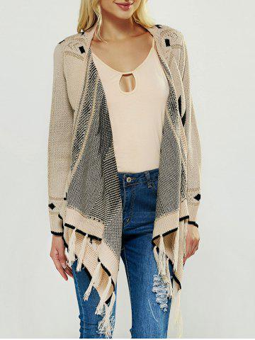 Sale Fringed Asymmetric Collarless Long Sleeve Cardigan APRICOT ONE SIZE