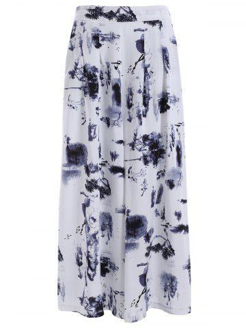 Chic High Waisted Printed Dressy Palazzo Capri Pants