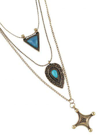 Best Faux Turquoise Triangle Cross Sweater Chain - GOLDEN  Mobile