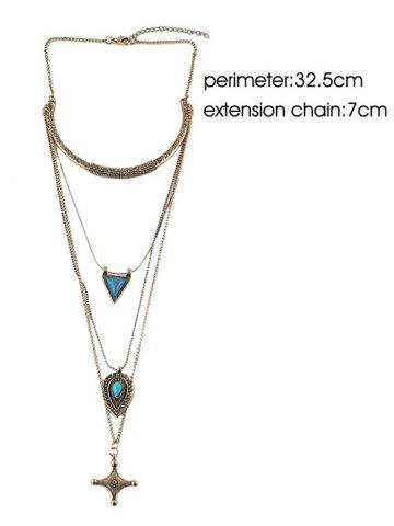 Shops Faux Turquoise Triangle Cross Sweater Chain - GOLDEN  Mobile