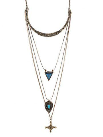 Unique Faux Turquoise Triangle Cross Sweater Chain - GOLDEN  Mobile