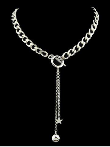 Shops Alloy Pentagram Ball Chains Necklace SILVER