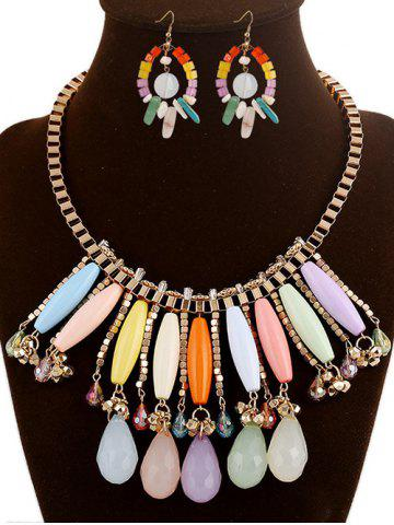 Trendy DIY Raw Stone Water Drop Necklace and Earrings - COLORMIX  Mobile