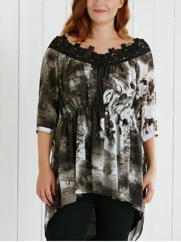 Outfits Plus Size Lace Spliced Asymmetric Ink Painting Blouse