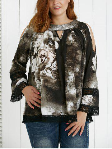 Trendy Plus Size Hollow Out Ink Painting Blouse