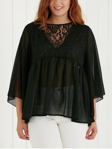 Affordable Plus Size Lace Spliced See-Through Blouse BLACK 5XL