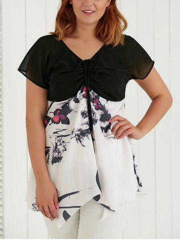 Shop Plus Size V Neck Butterfly Print Asymmetric Blouse