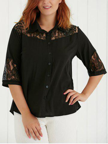 Best Plus Size Lace Spliced Hollow Out Blouse BLACK 5XL