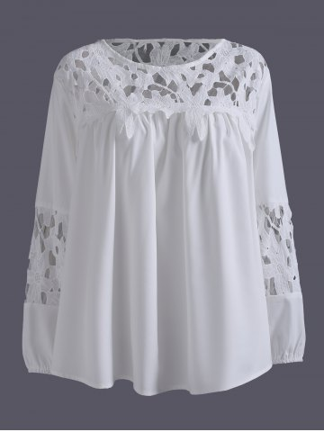Buy Plus Size Lace Crochet Spliced Blouse WHITE 5XL
