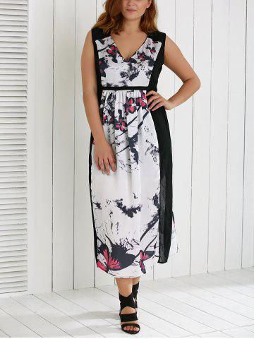 New Plus Size V Neck Ink Painting Furcal Maxi Dress
