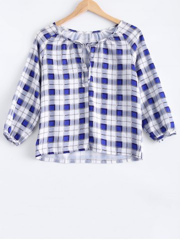 Shop Asymmetric Hem Plaid Tee