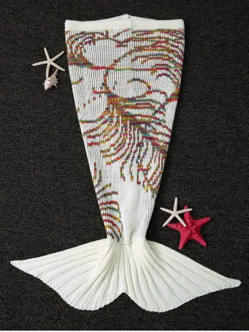 New Knitting Colorful Line Pattern Mermaid Shape Blanket WHITE