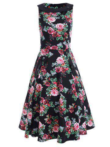 Best Sleeveless Print A Line Dress FLORAL L