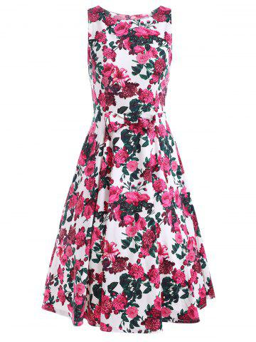 Unique Sleeveless Flower Print A Line Dress FLORAL L
