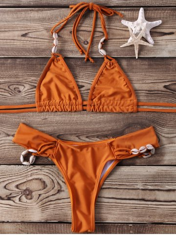Shops Shell Halter Two Piece Bikini Set