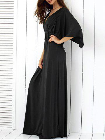 Store Batwing Sleeve Low Cut Maxi Dress