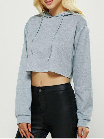 Outfits Long Sleeve Hooded Crop Swearshirt