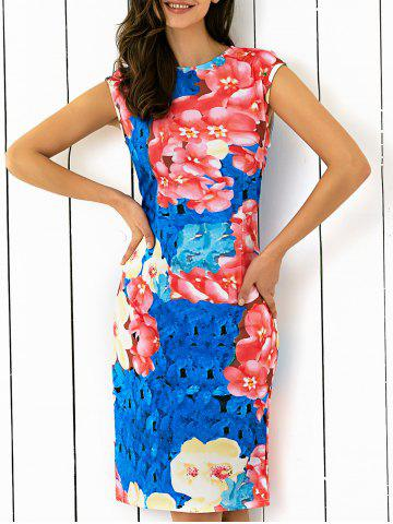 Sale Abstract Floral Printing Skinny Dress