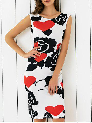 Chic Abstract Heart Print Skinny Dress BLACK AND WHITE AND RED XL