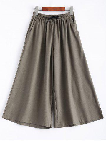 Latest Drawstring Crop Wide Leg Culotte Pants