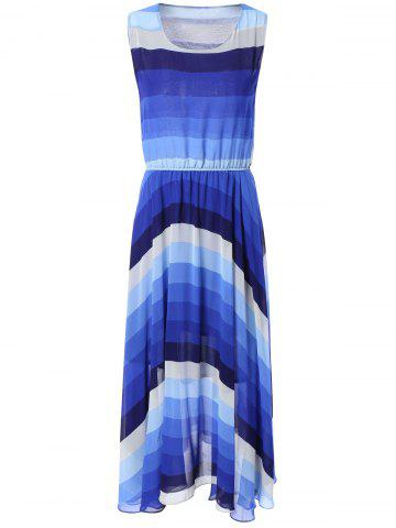 Hot Bohemian Ombre Color Chiffon Maxi Dress