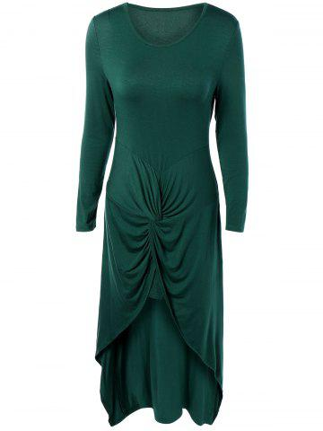 Long Sleeve High Low Front Knot Maxi Dress - Green - M